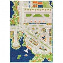 Covor copii 3D interactiv Orasul la mare cu aeroport 150x220cm