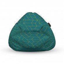 Fotoliu Units Puf (Bean Bags) tip para, impermeabil, cu maner, turcoaz inchis si linii aurii